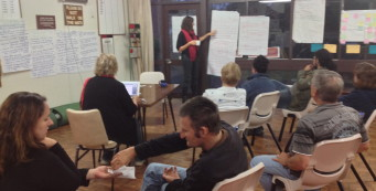 a team brainstorms with a person with disability