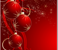 Red decorative Christmas balls with gold stars on them. Red background with silver and gold stars and hearts across the top half of the picture.